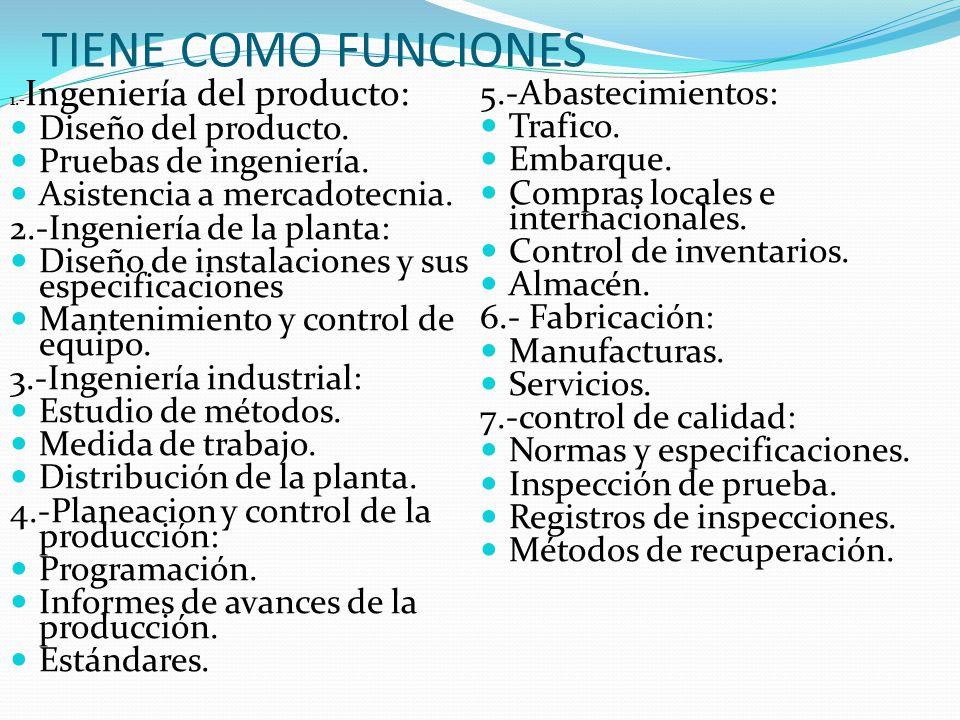 TIENE COMO FUNCIONES 5.-Abastecimientos: Diseño del producto. Trafico.