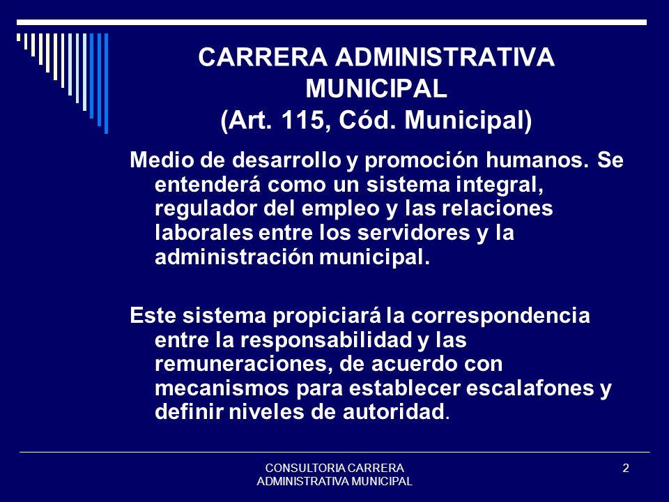 CARRERA ADMINISTRATIVA MUNICIPAL (Art. 115, Cód. Municipal)