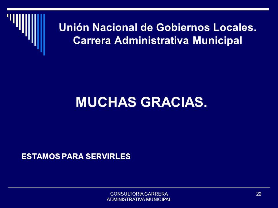 Unión Nacional de Gobiernos Locales. Carrera Administrativa Municipal