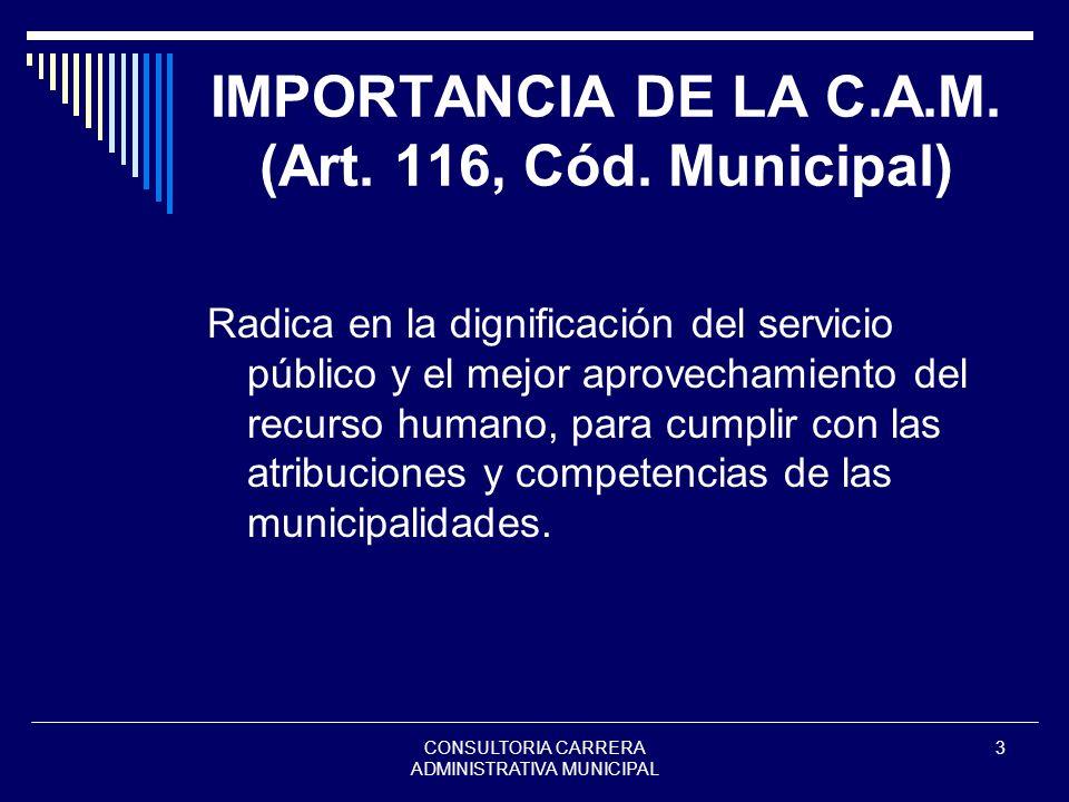 IMPORTANCIA DE LA C.A.M. (Art. 116, Cód. Municipal)