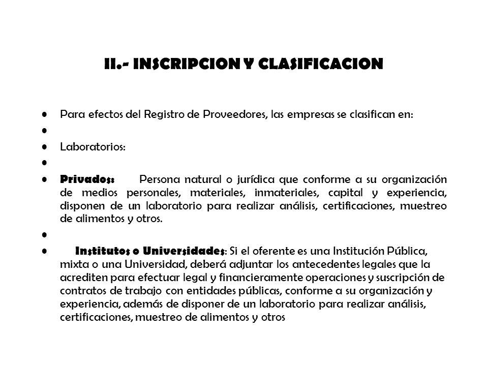 II.- INSCRIPCION Y CLASIFICACION