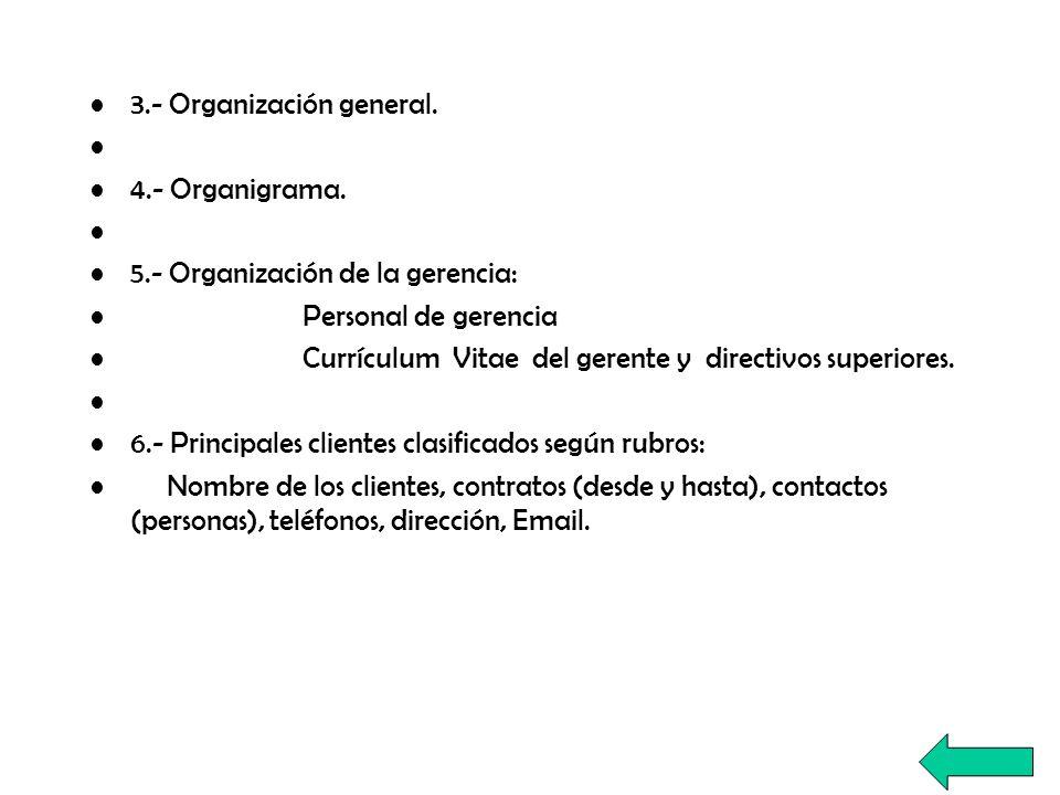 3.- Organización general.