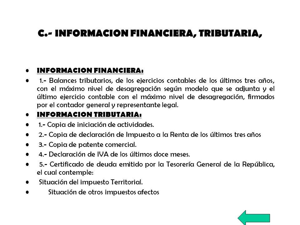 C.- INFORMACION FINANCIERA, TRIBUTARIA,