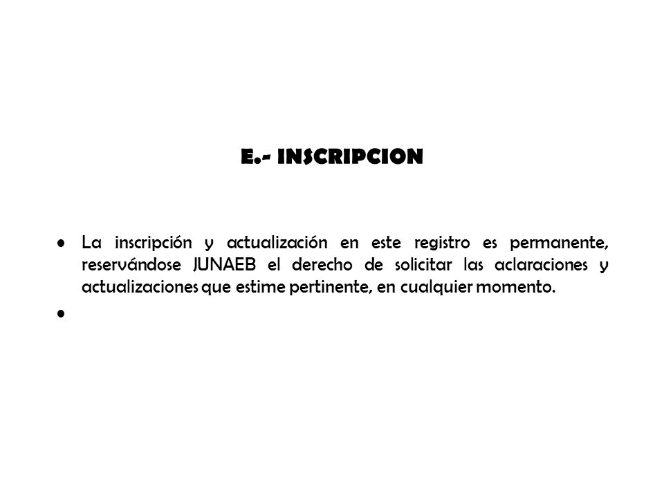 E.- INSCRIPCION