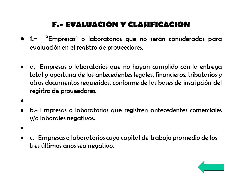 F.- EVALUACION Y CLASIFICACION
