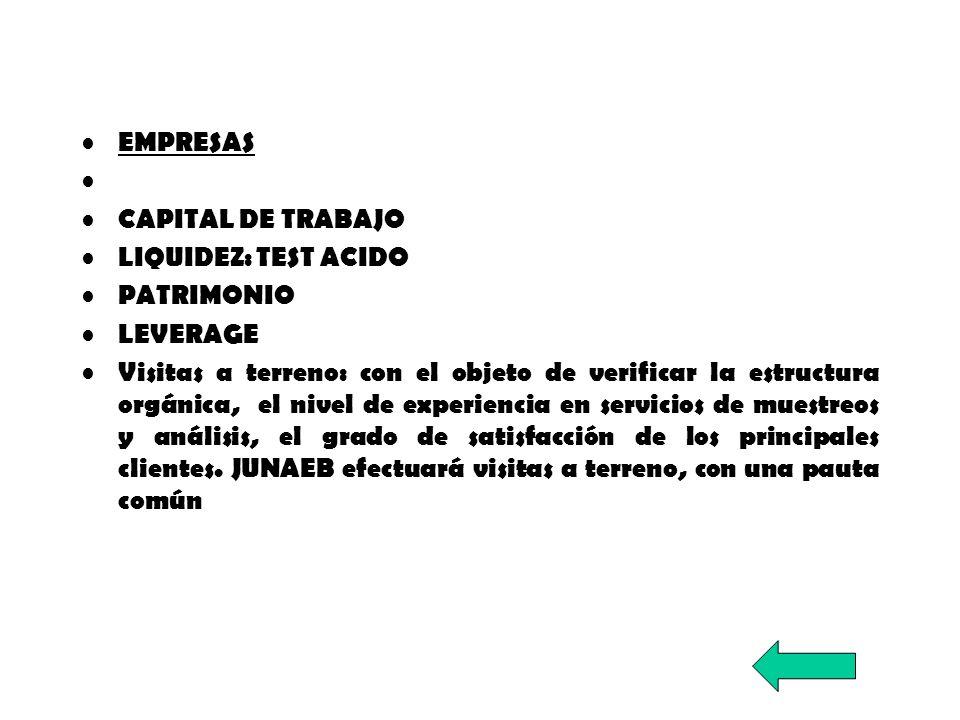 EMPRESAS CAPITAL DE TRABAJO. LIQUIDEZ: TEST ACIDO. PATRIMONIO. LEVERAGE.