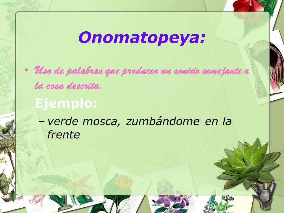 Onomatopeya: Uso de palabras que producen un sonido semejante a la cosa descrita.
