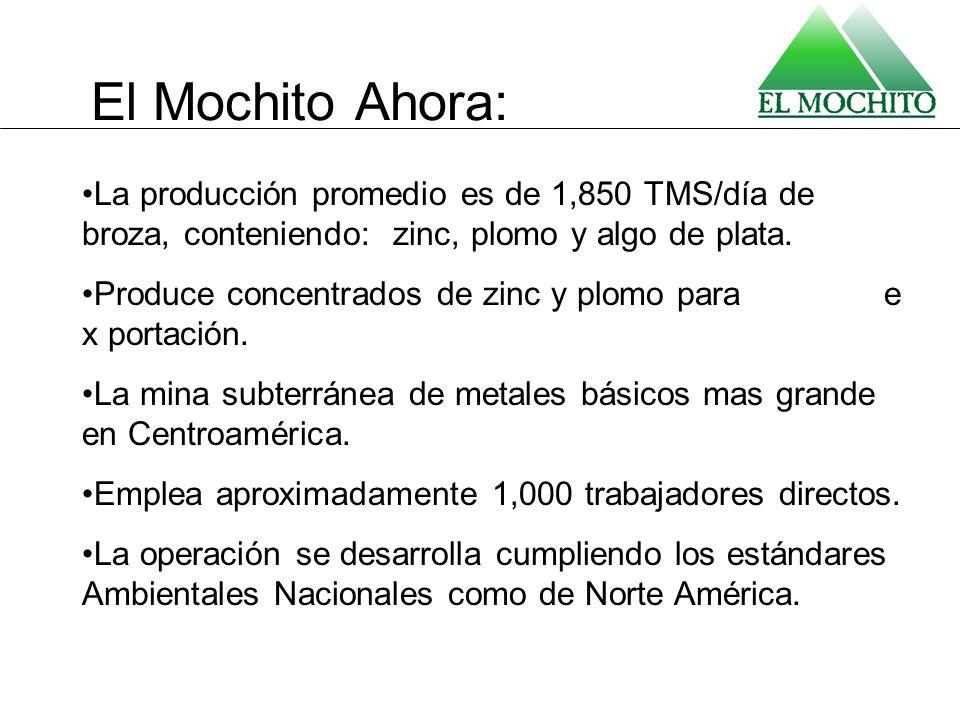 El Mochito Ahora: La producción promedio es de 1,850 TMS/día de broza, conteniendo: zinc, plomo y algo de plata.
