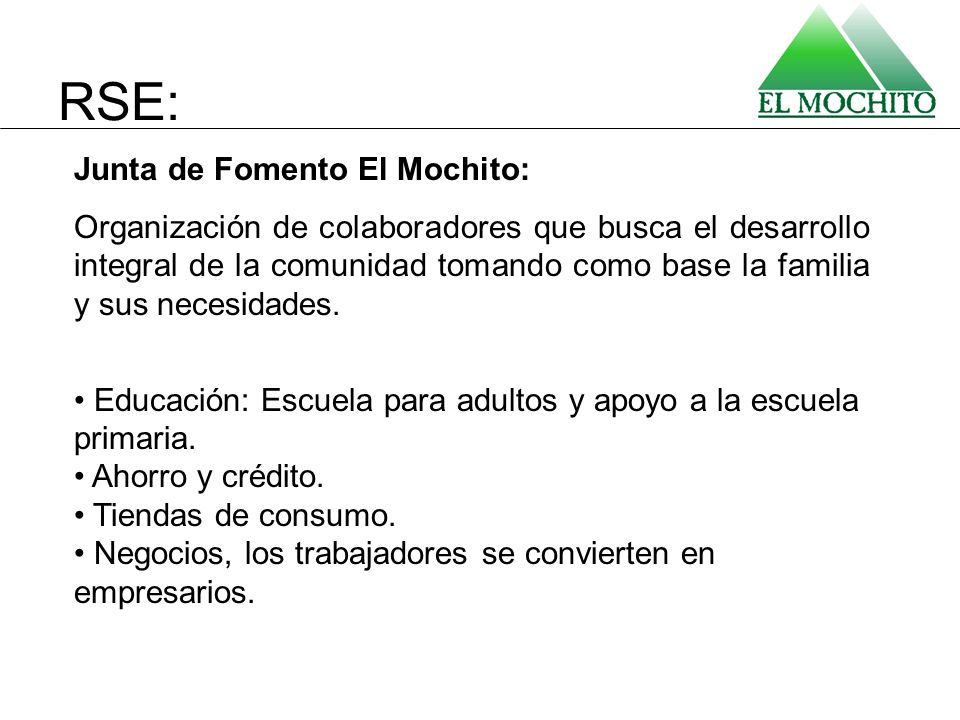 RSE: Junta de Fomento El Mochito:
