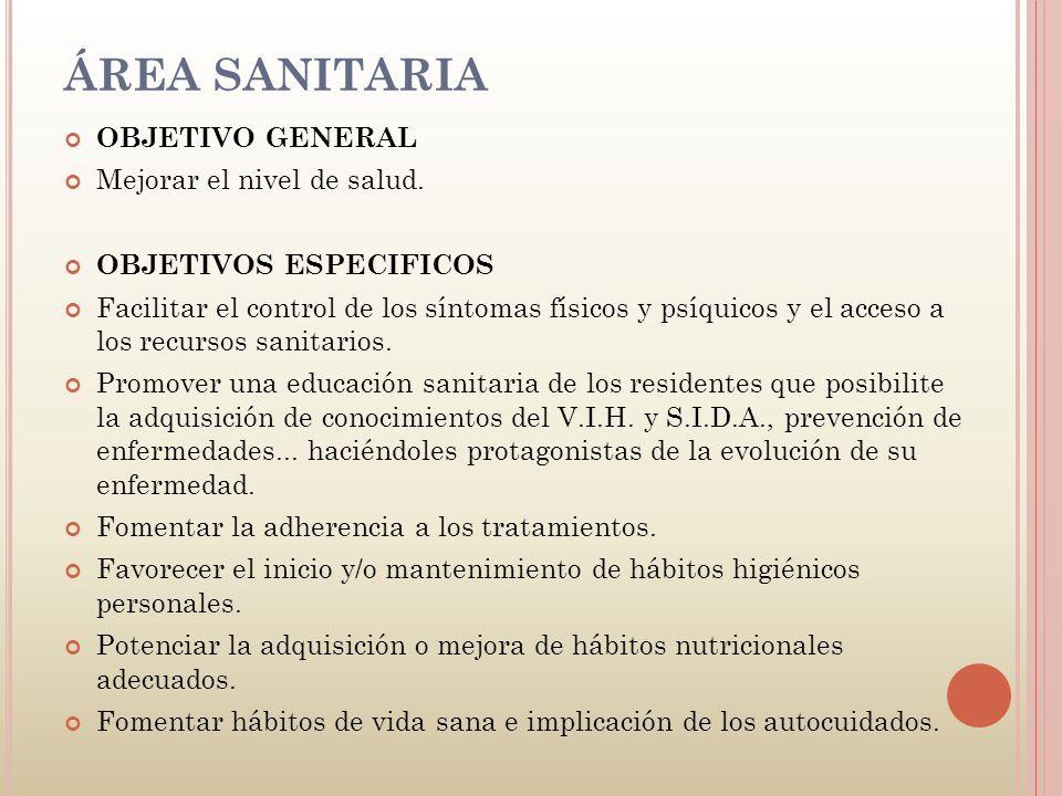ÁREA SANITARIA OBJETIVO GENERAL Mejorar el nivel de salud.