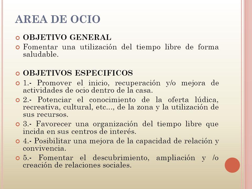 AREA DE OCIO OBJETIVO GENERAL