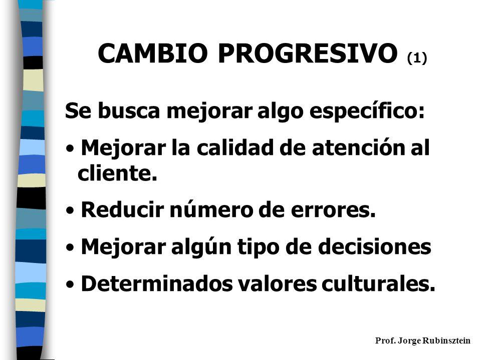 CAMBIO PROGRESIVO (1) Se busca mejorar algo específico: