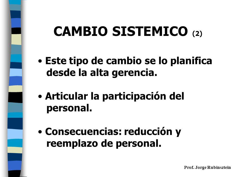 CAMBIO SISTEMICO (2) Este tipo de cambio se lo planifica