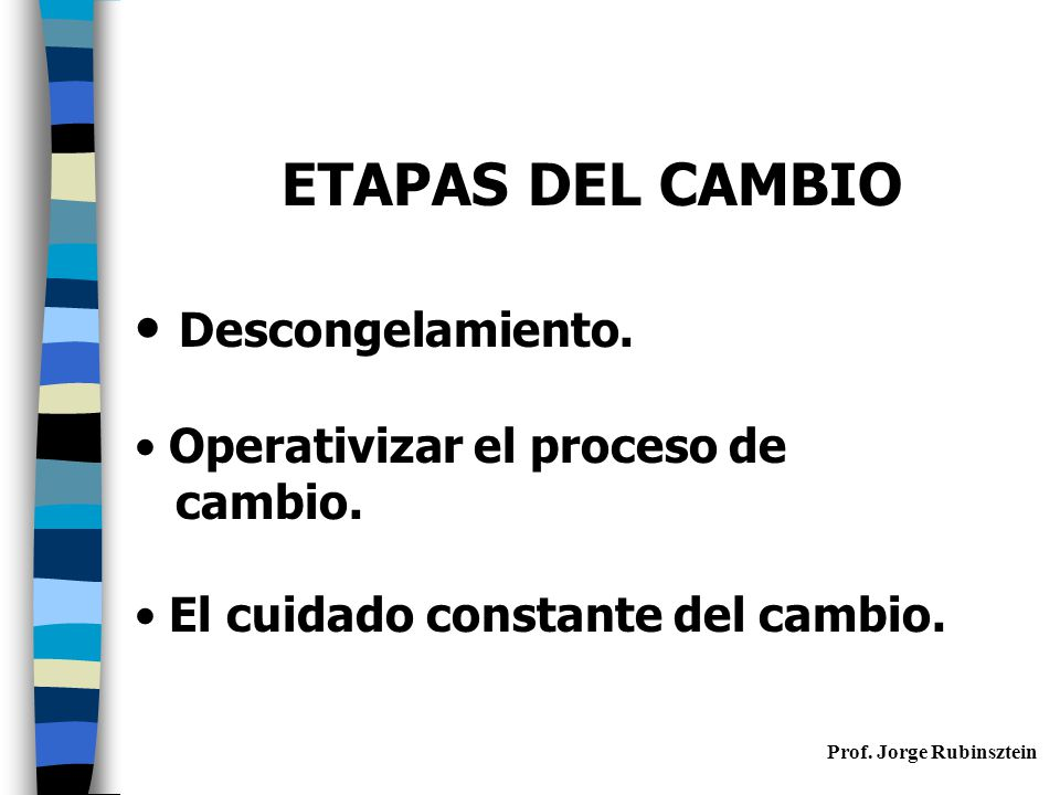 ETAPAS DEL CAMBIO Descongelamiento. Operativizar el proceso de cambio.