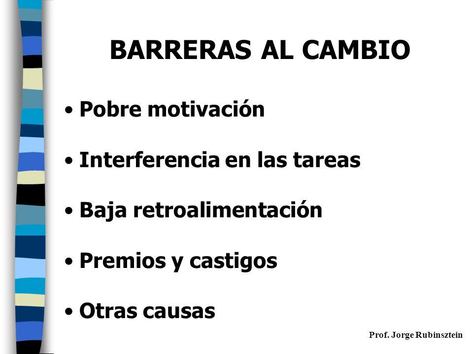 BARRERAS AL CAMBIO Pobre motivación Interferencia en las tareas