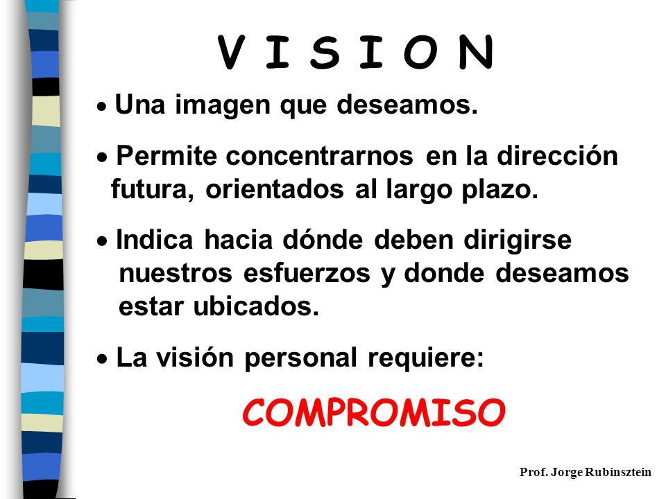 V I S I O N Permite concentrarnos en la dirección