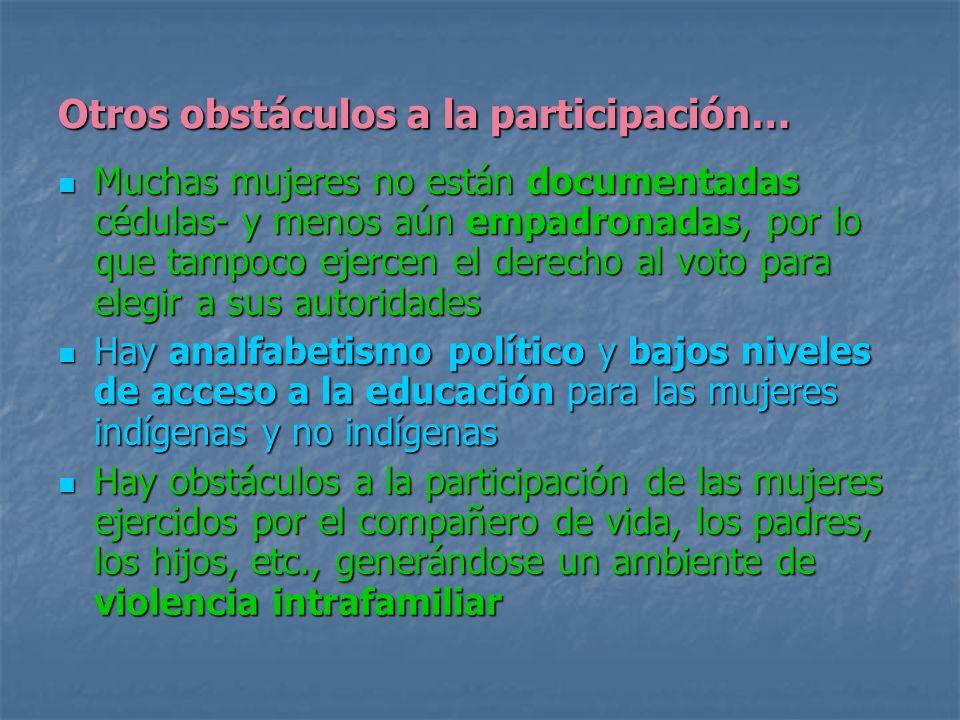 Otros obstáculos a la participación…