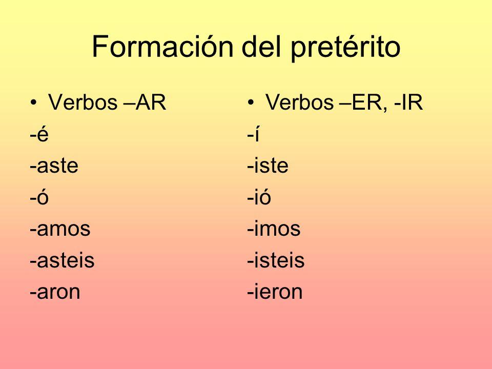 Formación del pretérito