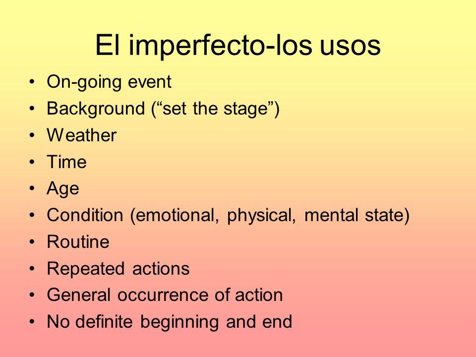 El imperfecto-los usos
