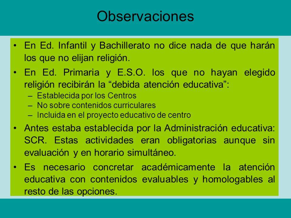 Observaciones En Ed. Infantil y Bachillerato no dice nada de que harán los que no elijan religión.