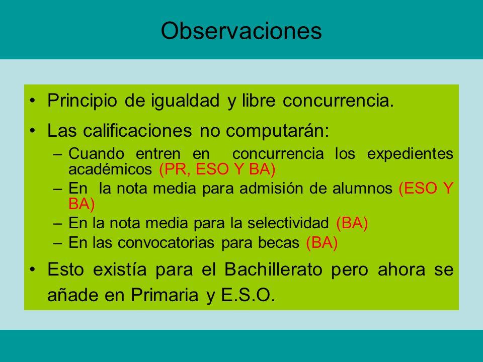 Observaciones Principio de igualdad y libre concurrencia.