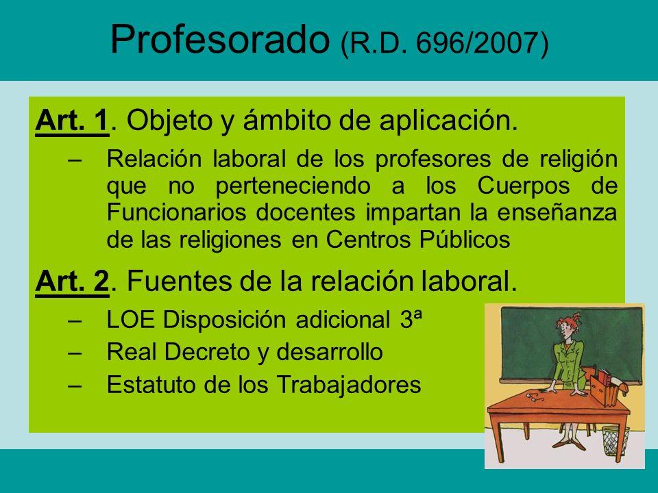 Profesorado (R.D. 696/2007) Art. 1. Objeto y ámbito de aplicación.