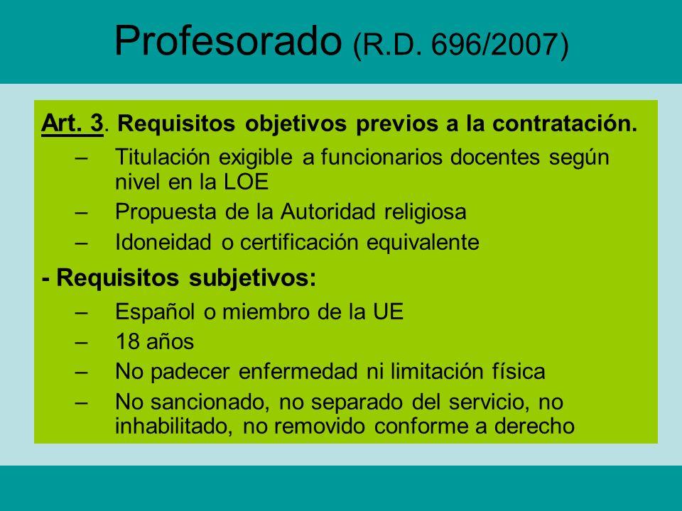 Profesorado (R.D. 696/2007) Art. 3. Requisitos objetivos previos a la contratación.