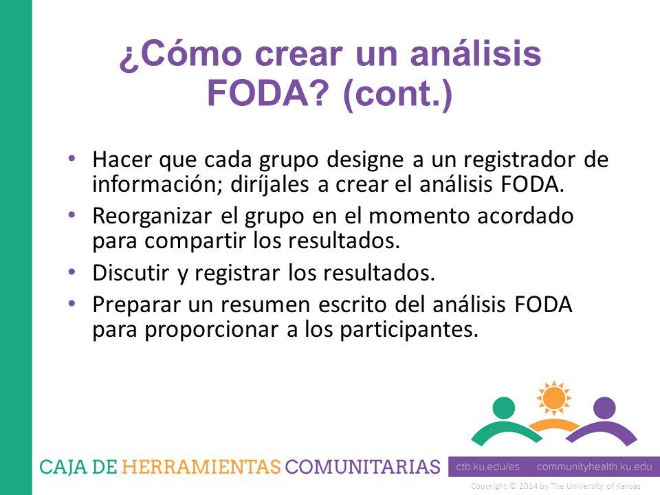 ¿Cómo crear un análisis FODA (cont.)