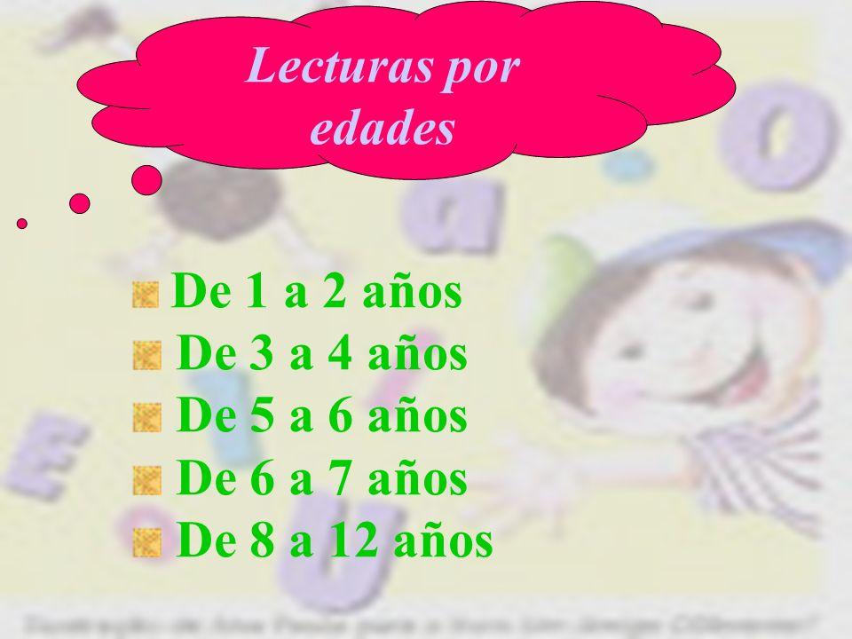 Lecturas por edades De 3 a 4 años De 5 a 6 años De 6 a 7 años