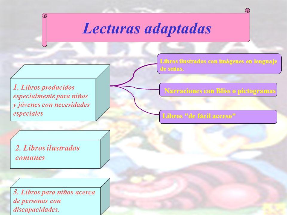 Lecturas adaptadasLibros ilustrados con imágenes en lenguaje de señas.