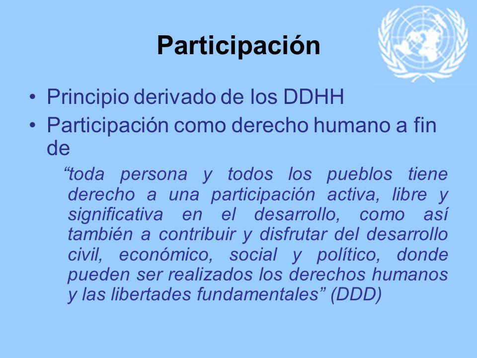 Participación Principio derivado de los DDHH