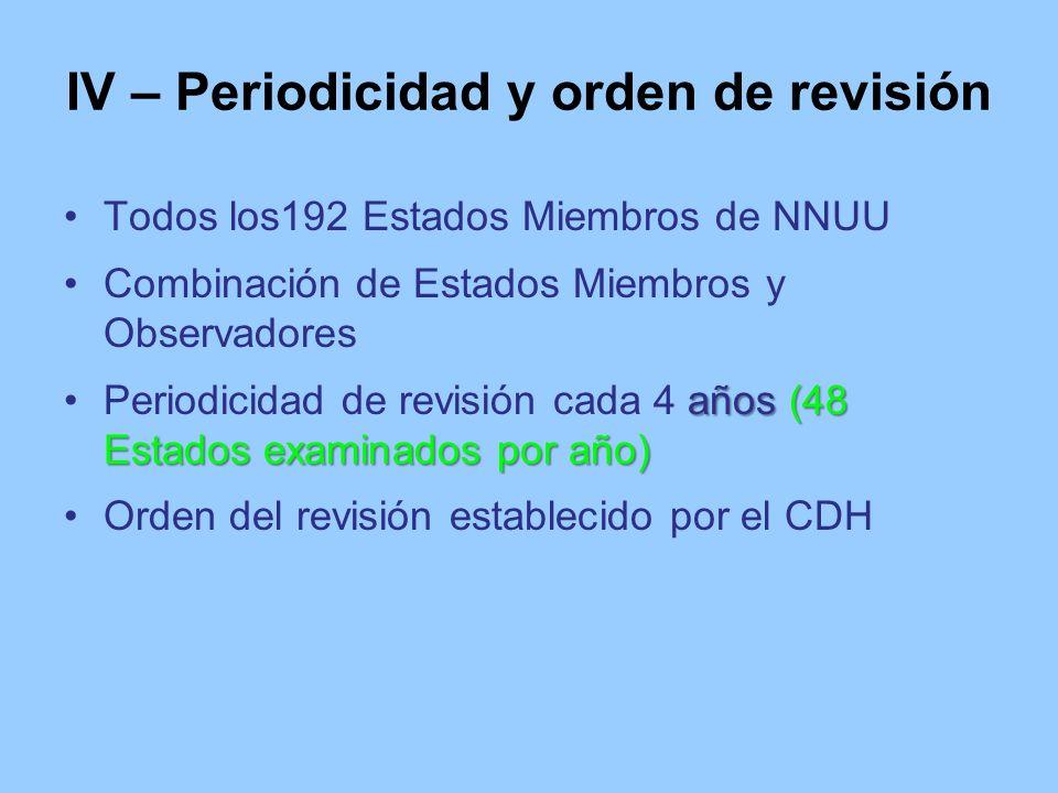IV – Periodicidad y orden de revisión