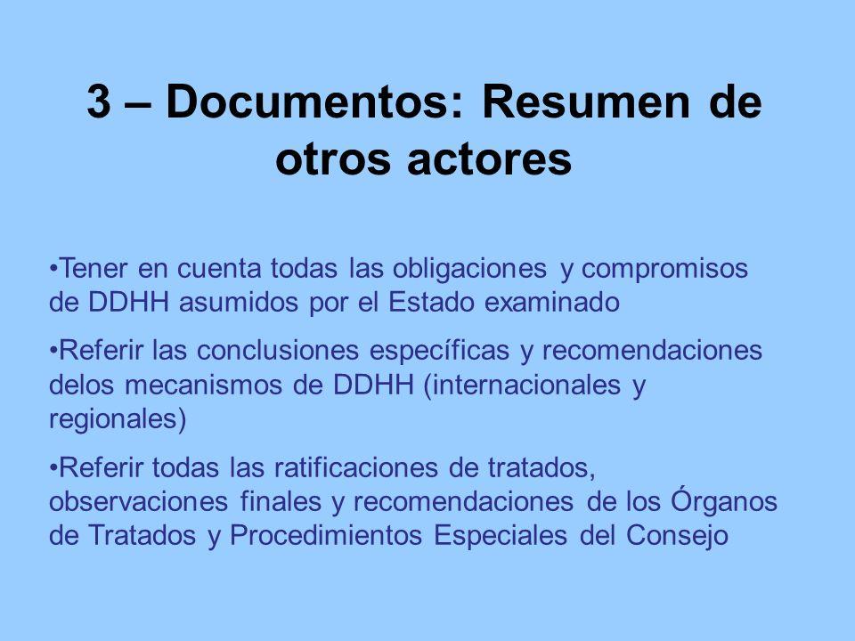 3 – Documentos: Resumen de otros actores