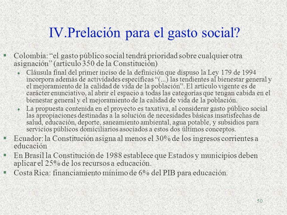 IV.Prelación para el gasto social