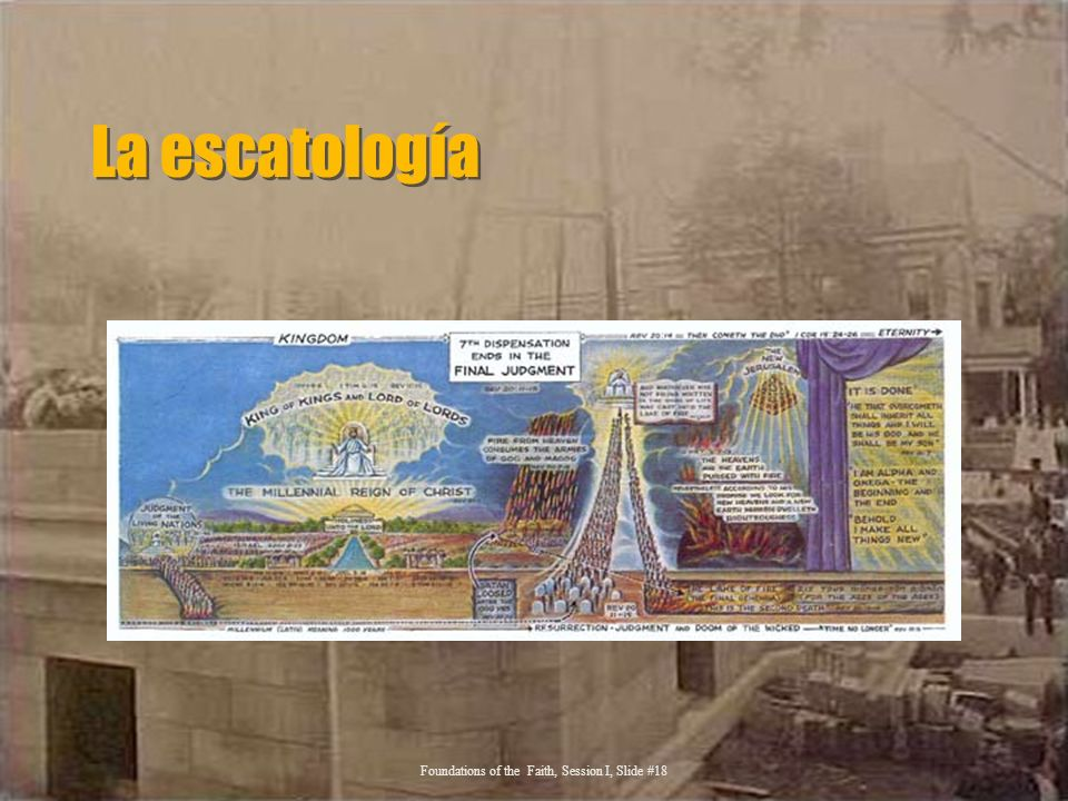 La escatología Foundations of the Faith, Session I, Slide #18
