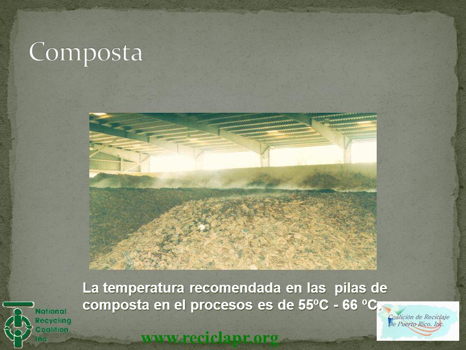 Composta La temperatura recomendada en las pilas de composta en el procesos es de 55ºC - 66 ºC.