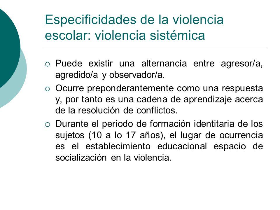 Especificidades de la violencia escolar: violencia sistémica