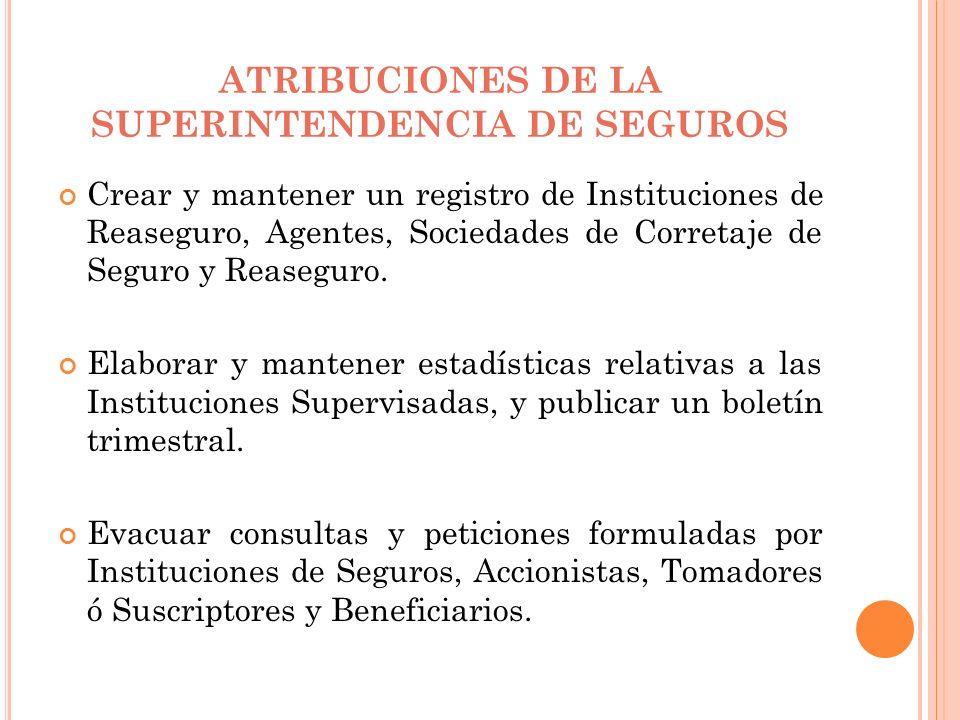 ATRIBUCIONES DE LA SUPERINTENDENCIA DE SEGUROS