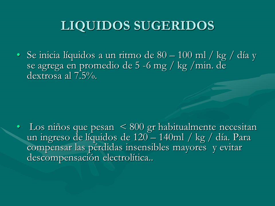 LIQUIDOS SUGERIDOS Se inicia líquidos a un ritmo de 80 – 100 ml / kg / día y se agrega en promedio de 5 -6 mg / kg /min. de dextrosa al 7.5%.