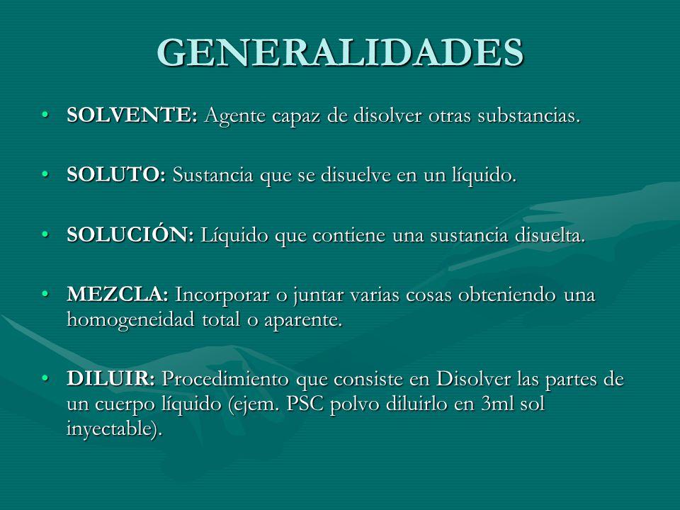 GENERALIDADES SOLVENTE: Agente capaz de disolver otras substancias.