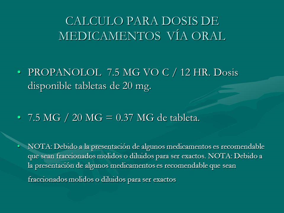 CALCULO PARA DOSIS DE MEDICAMENTOS VÍA ORAL