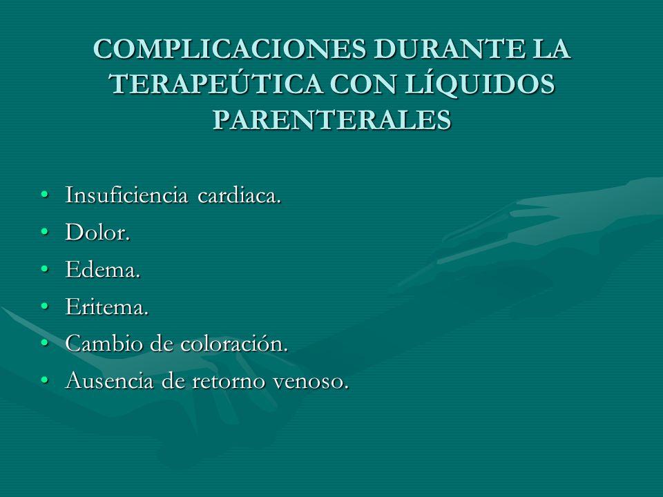 COMPLICACIONES DURANTE LA TERAPEÚTICA CON LÍQUIDOS PARENTERALES