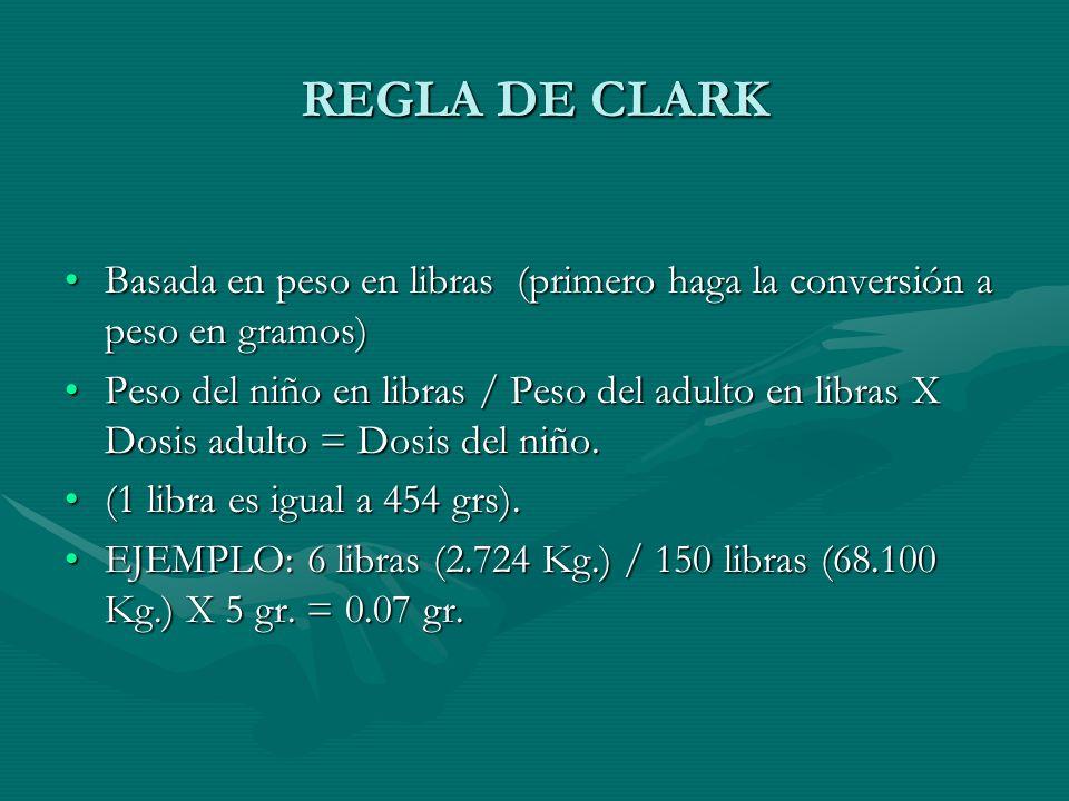REGLA DE CLARK Basada en peso en libras (primero haga la conversión a peso en gramos)