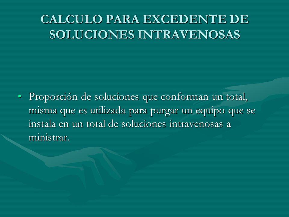 CALCULO PARA EXCEDENTE DE SOLUCIONES INTRAVENOSAS