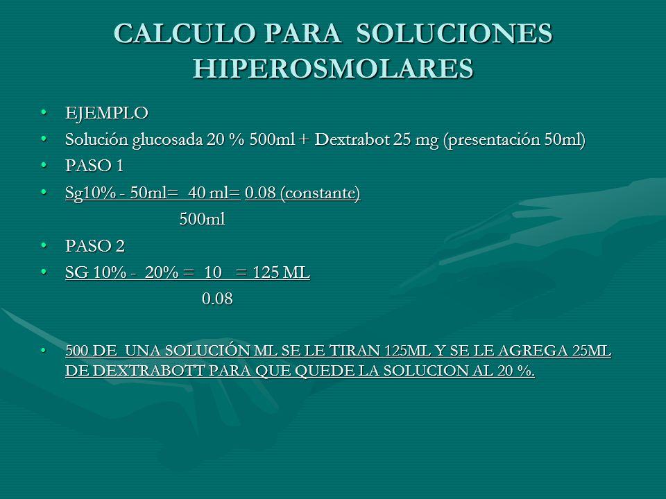 CALCULO PARA SOLUCIONES HIPEROSMOLARES
