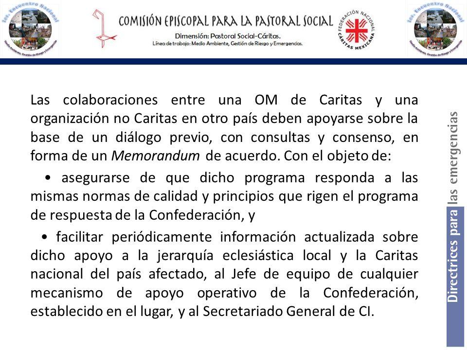 Las colaboraciones entre una OM de Caritas y una organización no Caritas en otro país deben apoyarse sobre la base de un diálogo previo, con consultas y consenso, en forma de un Memorandum de acuerdo. Con el objeto de: