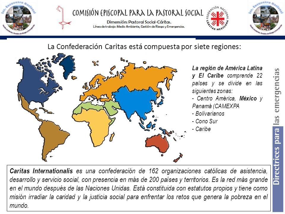 La Confederación Caritas está compuesta por siete regiones: