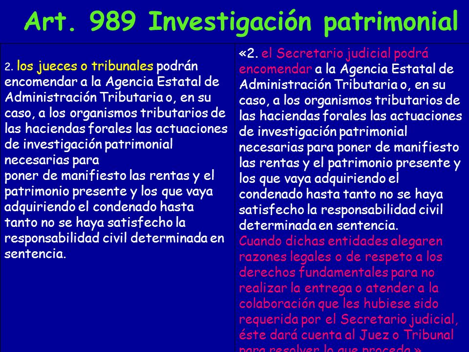 Art. 989 Investigación patrimonial