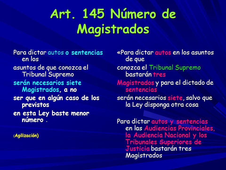 Art. 145 Número de Magistrados