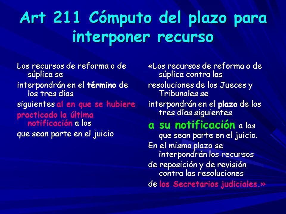 Art 211 Cómputo del plazo para interponer recurso